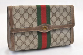 GUCCI Web Sherry Line GG Canvas Clutch Bag Brown PVC Leather Auth ar928 - $240.00
