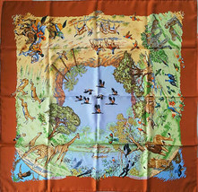 "Hermes Scarf Africa 90 cm Silk savanna animal Carre 35"" - €364,22 EUR"
