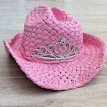 VTG Pink PRINCESS CROWN COWGIRL HAT Western Costume dressup birthday vin... - $23.76