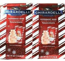 2 Bags Ghirardelli Chocolate 4oz Limited Edition Peppermint Bark Snowmen BB 6/21 - $22.99