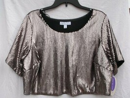 ASHLEY NELL TIPTON FOR BOUTIQUE MATTE ROSE SEQUIN STYLE CROP TOP SZ 1X R... - $10.99