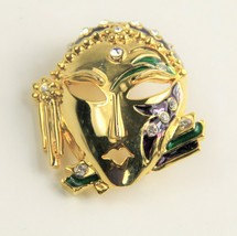 HIGH END VINTAGE Jewelry 80'S / 90'S MARDI GRAS MASK LADY FIGURAL BROOCH - $15.00