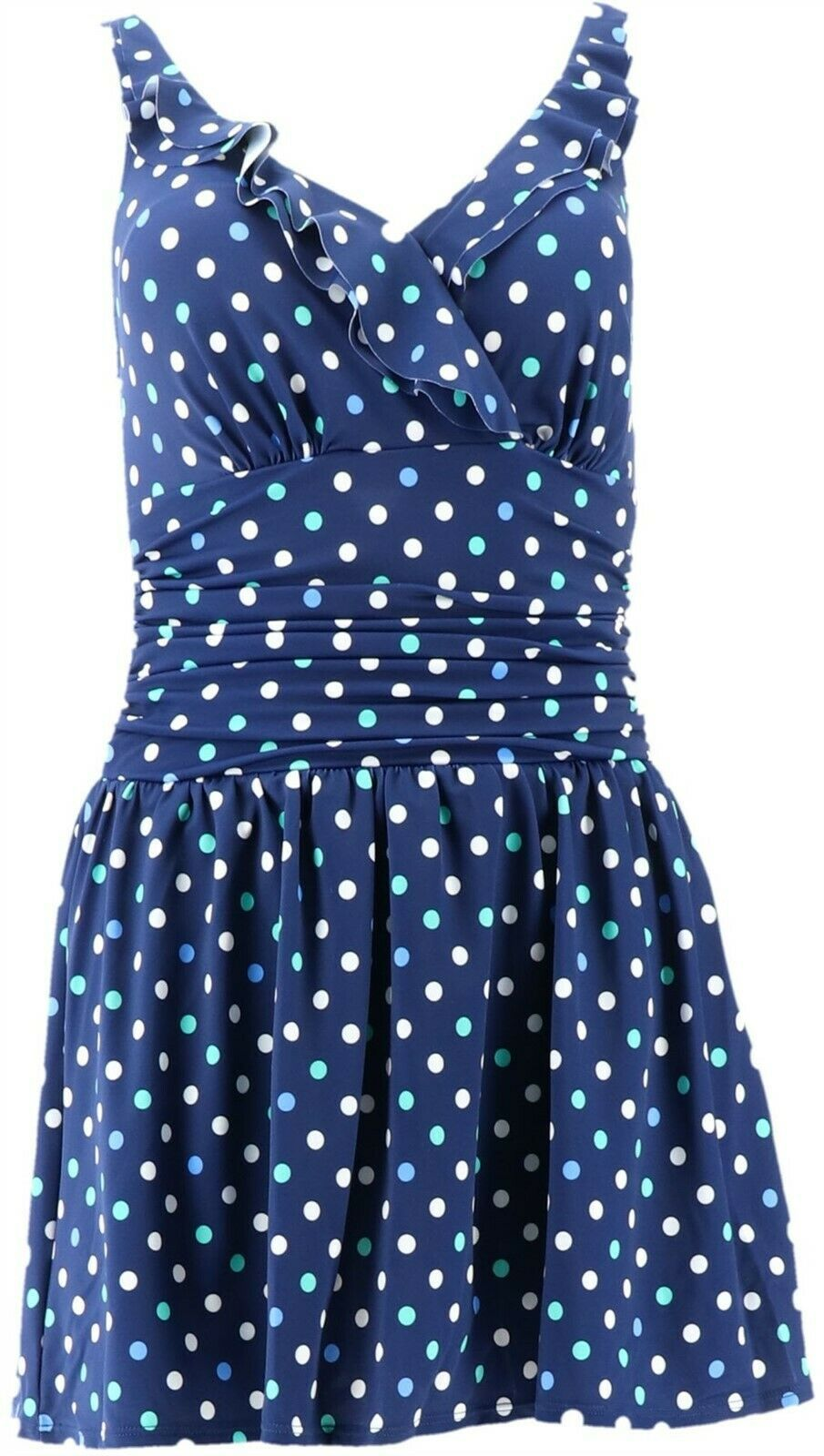 Primary image for Denim & Co Beach Double Ruffle Swim Dress Navy Dot 10 NEW A303732