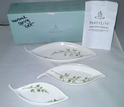 NIB PartyLite Herbal Spring Nested Set 3 Piece White Porcelain Lacy Leaf... - $11.39