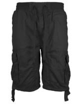 LR Scoop Men's Elastic Waist Drawstring Multi Pocket Cotton Cargo Shorts CJS-80 image 2