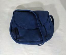 VP VINTAGE 1990's Barganza Navy Blue Leather Crossbody Shoulder Bag Purs... - $9.49