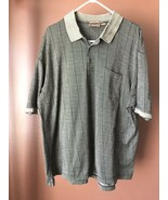 Men's Tasso Elba gray plaid polo golf shirt short sleeve size XL - $9.49