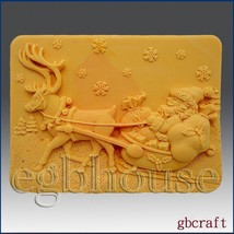 egbhouse, 2D silicone mold, Soap/plaster/polymer clay – Santa with Sleigh - $26.93