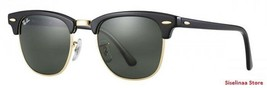 New Genuine Ray Ban 3016 W0365 Clubmaster Black Sunglasses G-15 Lens 51mm - $70.85