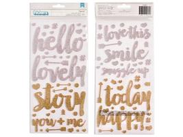 American Crafts-Glittered Letter Stickers-Silver and Gold-310071