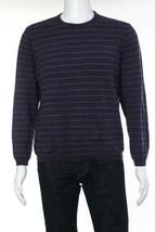 Calvin Klein Men's Striped Wool Crew Neck Sweater, Purple, L - $19.79