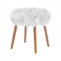 White Faux Fur Stool - $88.99