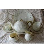 Belleek Ireland SHAMROCK 16 pc Dessert Set Tea Pot Cups Open Creamer Sug... - $427.50