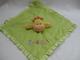 Child of Mine Carters Green Giraffe Cuddly Baby Blanket Satin Trim Lovey... - $19.34
