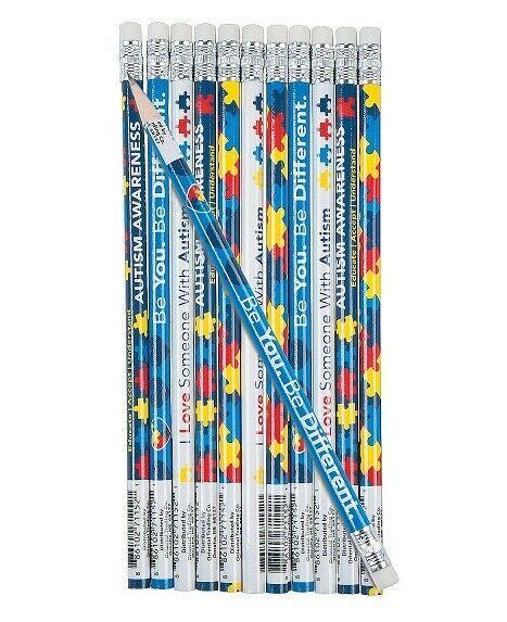 "Autism Awareness Pencils (2 dozen per unit) 7 1/2"". Wood."
