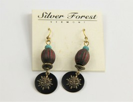ESTATE VINTAGE Jewelry NOS ON CARD SILVER FOREST VT TRIBAL SUN DANGLE EA... - $10.00