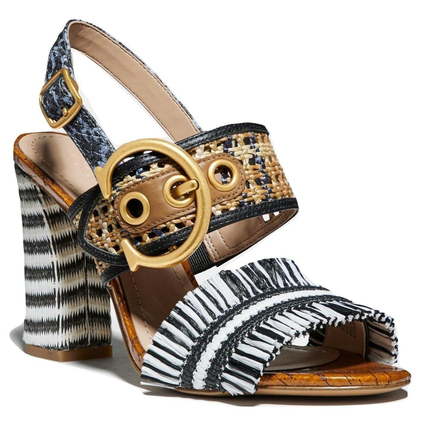 Coach Robin C-Buckle Raffia Slingback Sandals Size 10 - $148.49
