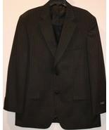 Haggar Mens 44 Regular 44R 2 Button Black Pinstripe Dress Suit Jacket - $119.98