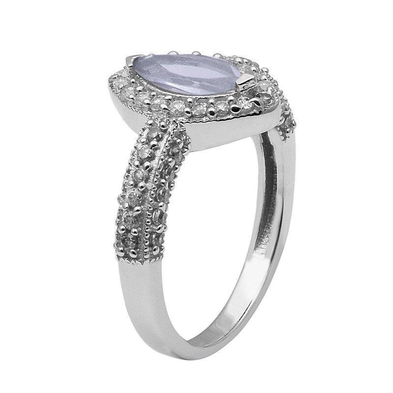 Blue Topaz,White Topaz 925 Sterling Silver Ring Shine Jewelry Size-10 SHRI1413