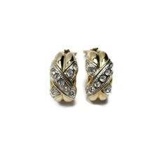 Vintage Wide Half Hoop X Clip On Earrings Gold Tone Faux Diamonds Chunky - $19.79