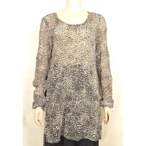 Chico's top tunic SZ 2 animal print leopard longer back see thru 100% coton - $29.69