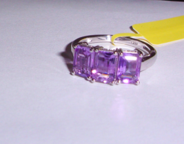 PURPLE AMETHYST OCTAGON 3-STONE RING, PLATINUM / 925 SILVER, SIZE 7, 3.00(TCW) - $25.00