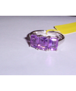 PURPLE AMETHYST OCTAGON 3-STONE RING, PLATINUM / 925 SILVER, SIZE 7, 3.0... - $22.50