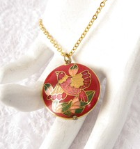 Necklace Red Cloisonne Enamel Bird Pendant And Chain Double Sided Boho Asian 70s - $32.00