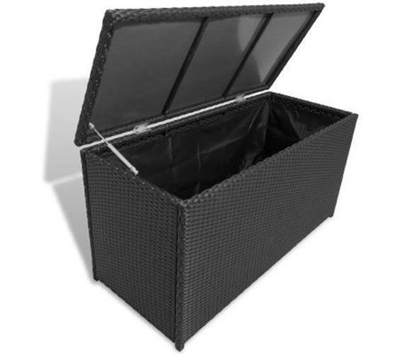 Primary image for Garden Organiser Chest Box Poly Rattan Outdoor Storage Blankets Pillows Black