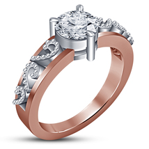 14k Rose Gold Plated Pure 925 Silver Round Cut White CZ Women's Engageme... - £57.16 GBP
