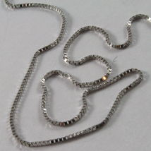 18K WHITE GOLD CHAIN MINI 0.8 MM VENETIAN SQUARE LINK 15.75 INCH. MADE IN ITALY  image 3