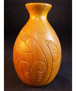 """WOODEN VASE 5 1/2"""" Tall Hand Turned & Carved Decorative Floral Vase - $9.89"""