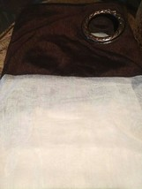 Allen Roth BARISTA Grommet Panel Drape Curtain White Sheer Chocolate Tri... - $23.50