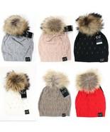 CC Beanie Black Label Super Premium Fashion Crystal Raccoon Real Fur Pom... - $40.00