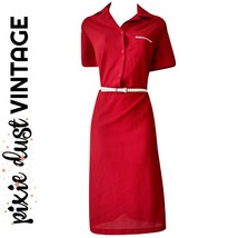 Vintage Dress Red Belted 70s 1970s Shirtdress Shirt Midi Buttons Size Me... - $41.10