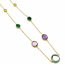 18K YELLOW GOLD NECKLACE, CABOCHON BLUE TOPAZ, AMETHYST, CITRINE, GREEN AGATE image 2