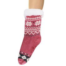 Women's 12 Pack Fair Isle Print Sherpa Non-Slip Winter Weight Slipper Socks