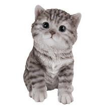 """Animal Collection Life Size Grey Tabby Kitten Figurine Statue 6 5/8""""Tall - £15.88 GBP"""