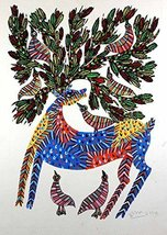 Wall Hanging Gond Painting (Deer with Birds) Size :- 14/11 Inch - $178.00