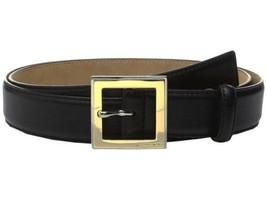 Michael Kors Two-tone Center Bar Square Buckle Leather Belt, Large 44, Black - $40.00