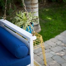 """White Coastal Cottage Wood 65"""" Porch Swing With Blue Cushions Outdoor Furniture image 6"""