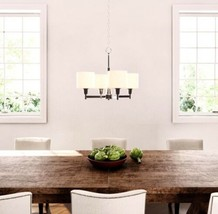 4 Light Chandelier By Hampton Bay Brushed Nickel Light Fixture Sealed Br... - $99.00