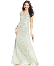 Adrianna Papell Cap-Sleeve Embellished Gown Mint Size 6 $300 - $193.49