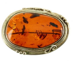 Vintage Mid Century Sterling Large Organic Amber Spangles  Pin Pendant 1... - $80.99