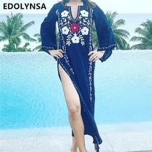 Embroidery Cotton Beach Cover up Saida de Praia Swimsuit Women Bikini cover up T - $27.95