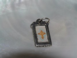 Estate Yellow & Orange Paper Cross in Silvertone Rectangle Frame Pendant... - $8.59