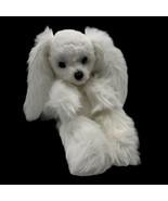Kamar Japan Vtg White Long Hair Ears Poodle Puppy Dog Plush Odd Unusual - $39.55