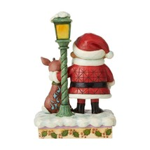 """Rudolph, Santa and Lamp Post - Lights Up! - A Jim Shore Christmas Figurine 7"""" H image 2"""