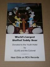 Elvis Presley World's Largest Stuffed Teddy Bear Poster Ad RCA Promo - $24.99