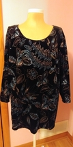 Notations Womens Black Velvet Top 3X Sparkle Long Sleeve  WVTUD121 Plus ... - $24.99
